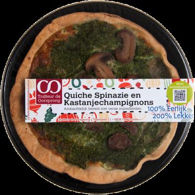 Quiche spinazie en kastanjechampignons
